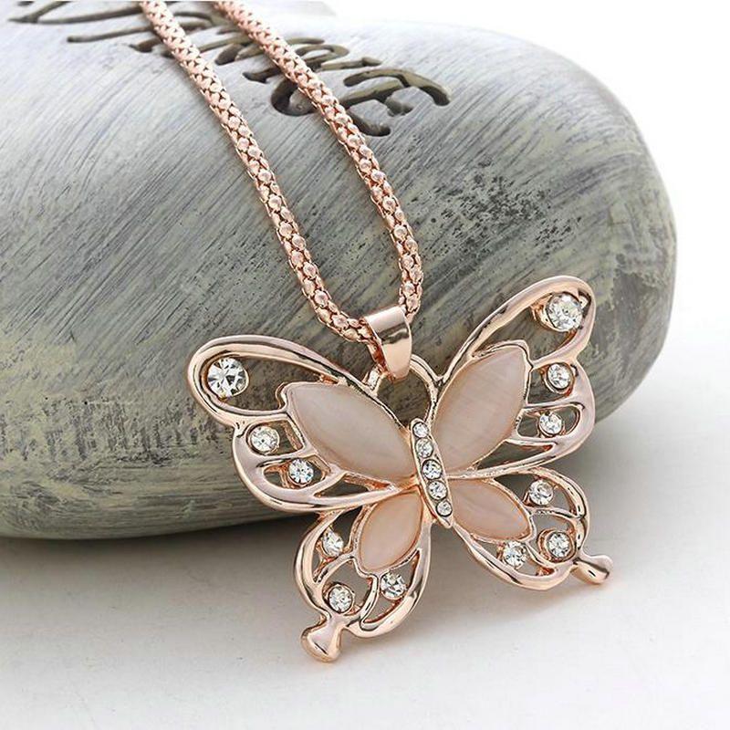 Оптовая продажа-розовое золото акриловый Кристалл 4 см большая бабочка ожерелье 70 см длинная цепь свитер ювелирные изделия для женщин