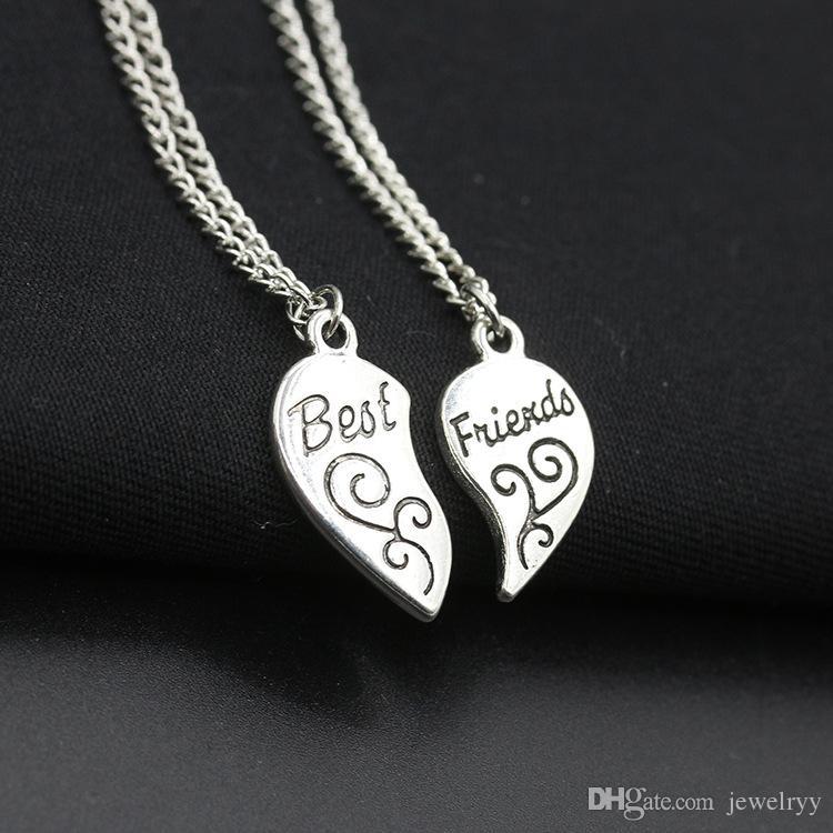 Любовь персиковое сердце лучшие друзья кулон ожерелье разбитое сердце лучшие друзья мать и дочь цепи ожерелья сплава ювелирных изделий для подарка 1 компл.=2 шт.