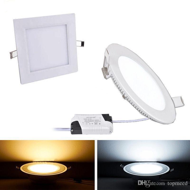 Luci a LED Dimmable Pannello LED Downlight 6W 12W 18W Glass a soffitto a soffitto rotondo Luci da incasso SMD 5730 Caldo freddo bianco LED luce AC85-265V