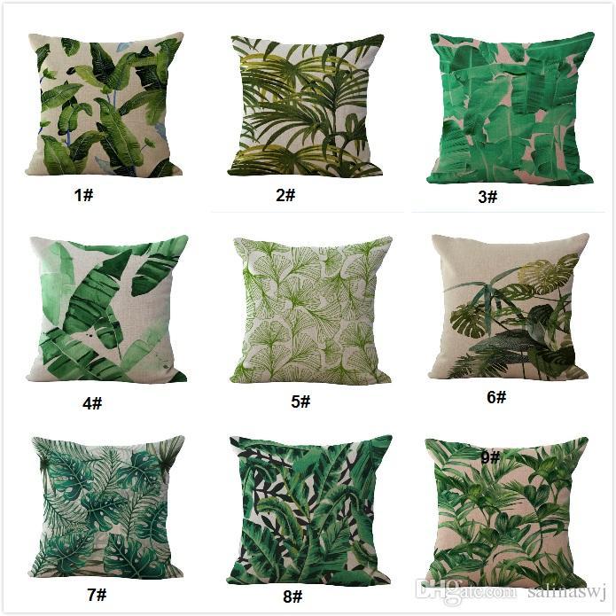 1 45 45cm Roblue federa fogli piante tropicali in poliestere per divano casa auto lavabile morbido 45/* 45/cm