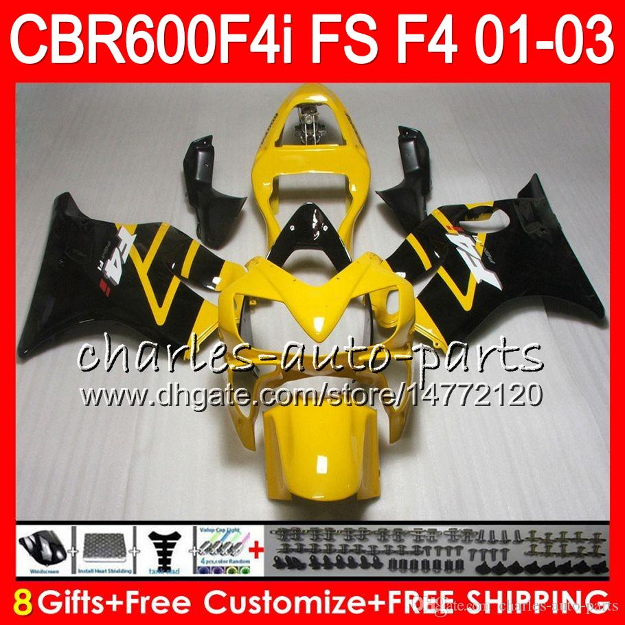8Gifts 23 kleuren voor HONDA CBR 600 F4I 01-03 CBR600FS FS 28HM22 CBR600 F4I 2001 ELLLOW BLACK 2002 2003 CBR 600F4I CBR600F4I 01 02 03 FUNLING