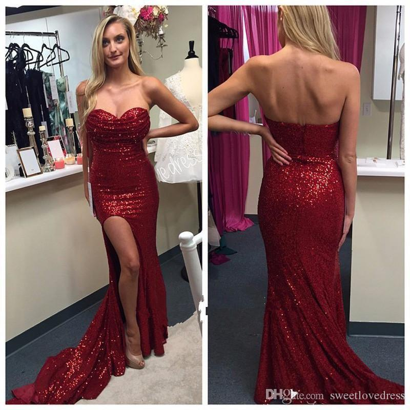 2017 fashion bling bling red sequin Sheath evening dresses floor-length strapless sweetheart side split Sexy Formal plus size Prom Party Go
