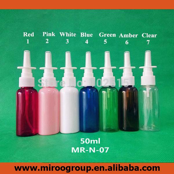 FreeShip 50 sets/lot colored 50ml PET Pharmaceutical Oral Nose Nasal Spray Pumps Bottle with 20/410 Nasal Pump Sprayer Atomizers