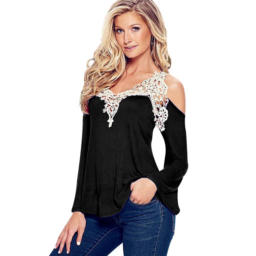Al por mayor- Plus 4XL camisa blanca de encaje negro Sexy mujer Vintage 2016 Top Chemise Femme Shirt Ladies manga larga ropa de gran tamaño de las mujeres
