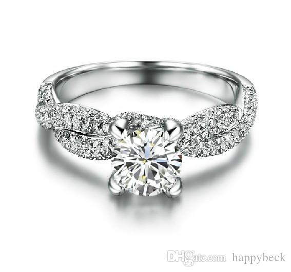 Great Luxury Genuine Semi Mounting 1CT Synthetic Diamond Female Wedding Ring Solid Sterling Silver Promise Love Best Propose Fine Jewelry