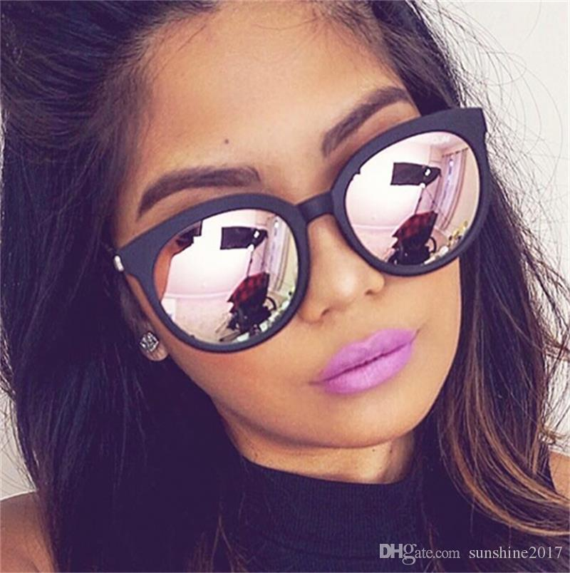 Rosa reflejado mujer mujer sombras sol mujeres espejo de espejo de solmera de sol para diseñador Oculos 2017 Revestimiento de marca Gafas de sol Gafas de sol U VPXD