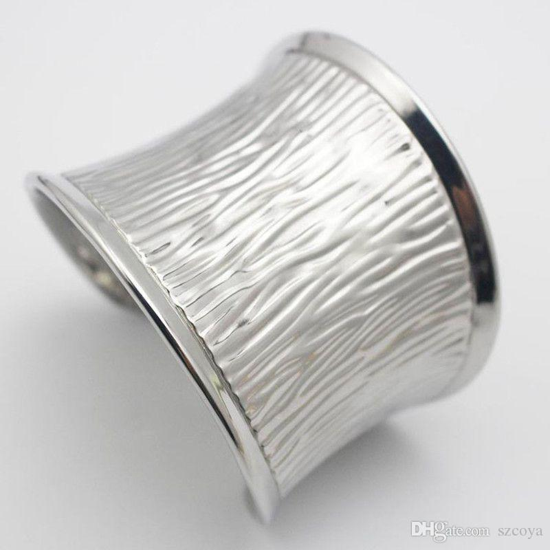 New Curved Cuff Bangle Bracelets for Women Shiny Silver 316L Stainless Steel Metal Big Wide Cuff Bangles Large Jewelry Design