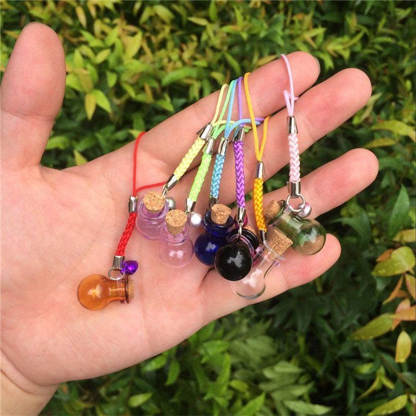 Bottles Lamp Shape Pendants Mini Bell Bracelets Bottles with Key Chains Jars Glass Pendants Wedding Gift Mixed Colors5