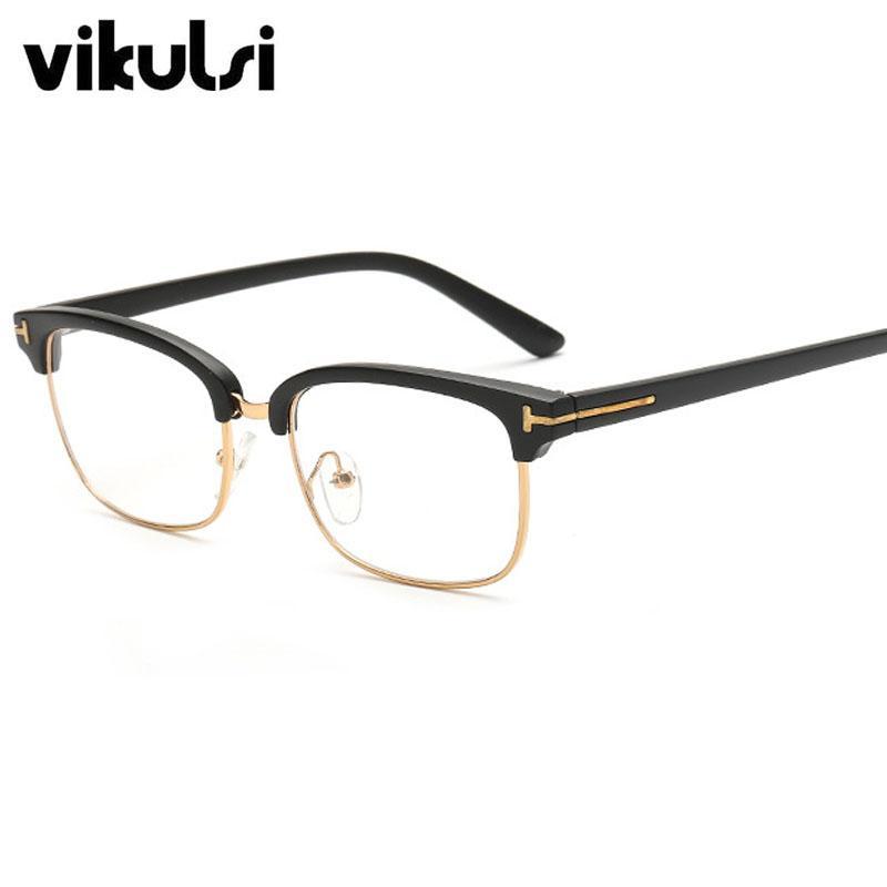 Atacado 2017 Espetáculos Moda Retro Eye Glasses Frames Mulheres Homens Limpar vidros ópticos Óculos Frames Oculos Vintage