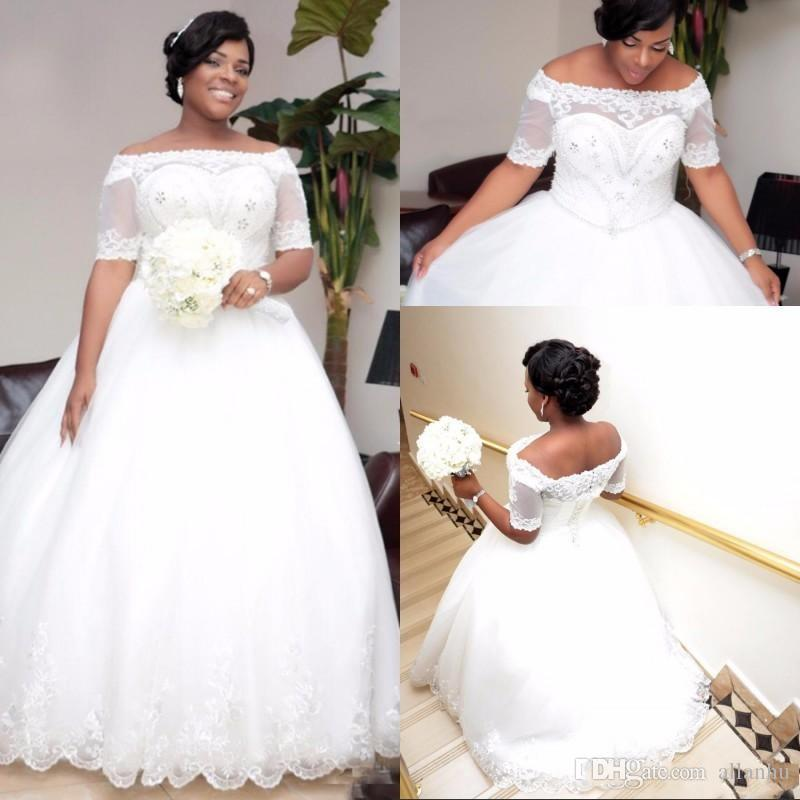 African Plus Size White Ivory 2018 Ball Gown Wedding Dresses With Sleeves Boat Neck Beaded Crystals Wedding Dress Wedding Gowns