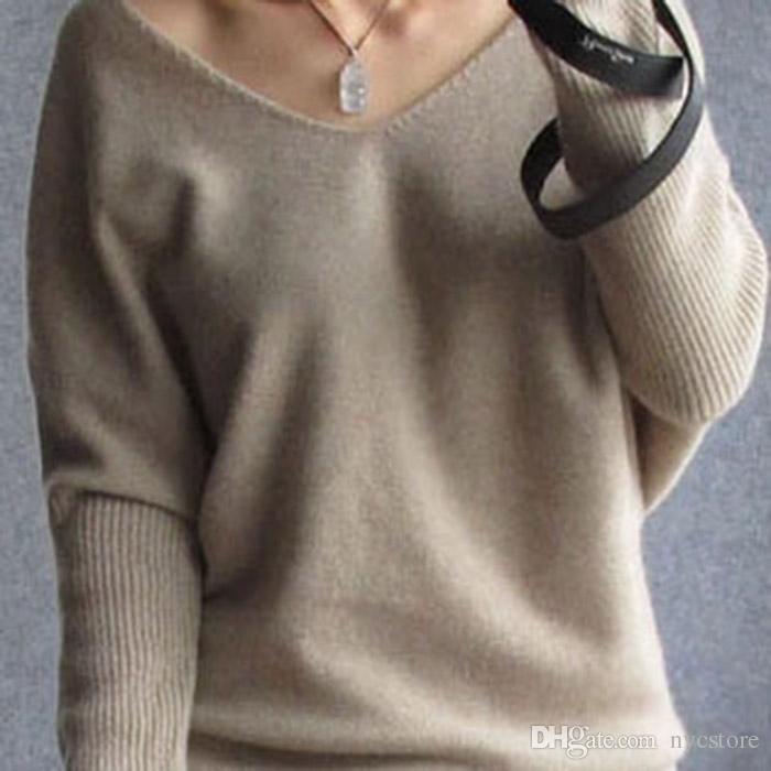 Novas camisolas outono inverno suéter de cashmere para as mulheres de moda sexy v-pescoço camisola de manga batwing solta lã camisola plus size S-4XL pullover