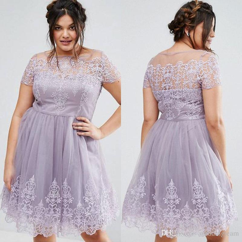Lavender Lace Plus Size Short Prom Dresses With Short Sleeves Appliques  Bateau Neckline Evening Gowns A Line Tulle Knee Length Formal Dress White  Plus ...