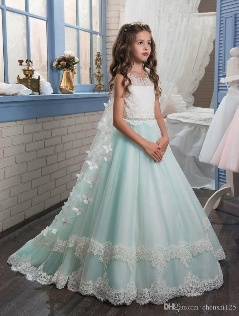 Abaowedding Princess Butterfly Cape Lace Girls Dress 2017 Green ...