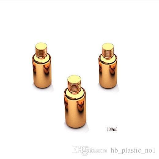 Free shipping 100ml/cc 3.33OZ High Grade gold plated Capsule glass bottle empty diy pill vials screw lid essentical oil bottle