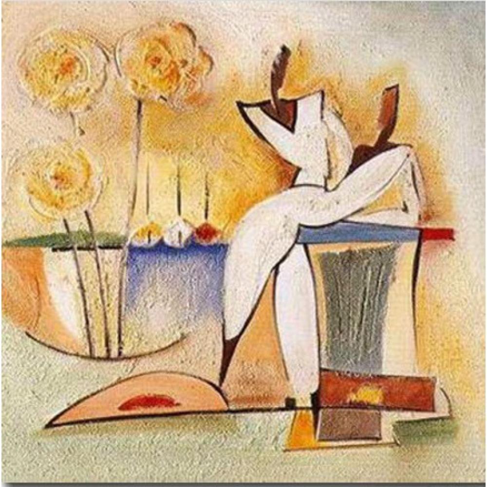 Высокое качество абстрактного современного искусства партии Deux картины маслом репродукции ручной росписью