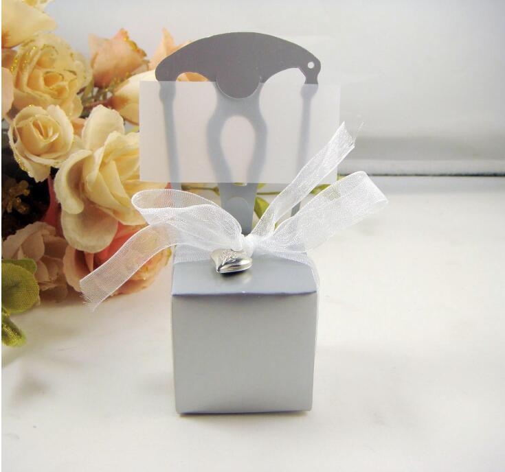 Silver Chair Wedding favor box candy box Cake Chocolate boxes heart decor Wedding gift boxes wit ribbon 100pcs