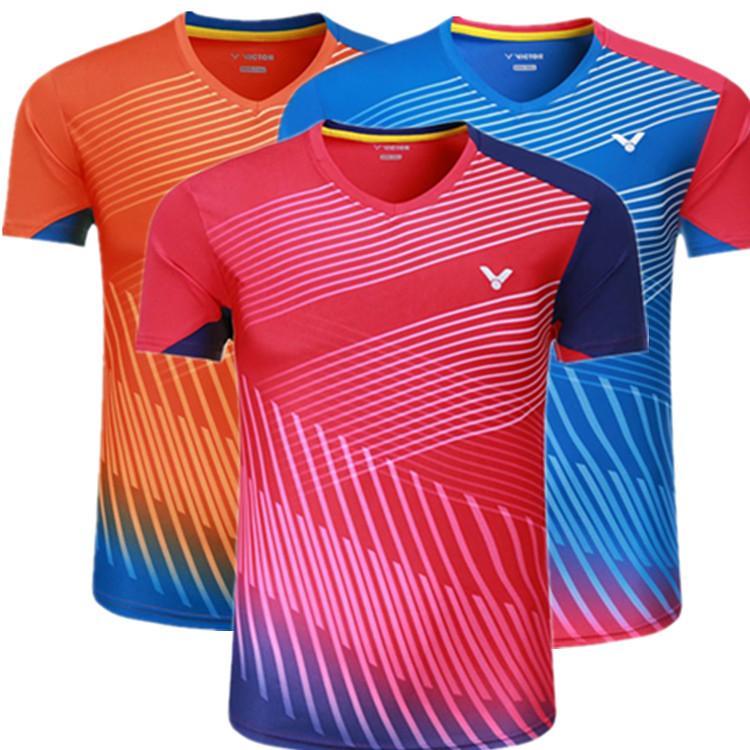 새로운 빠른 건조 빅터 배드민턴 스포츠 티셔츠 유니폼 정통, 탁구 jesey 테이블 테니스 / 배구 셔츠, 빅터 배드민턴 셔츠
