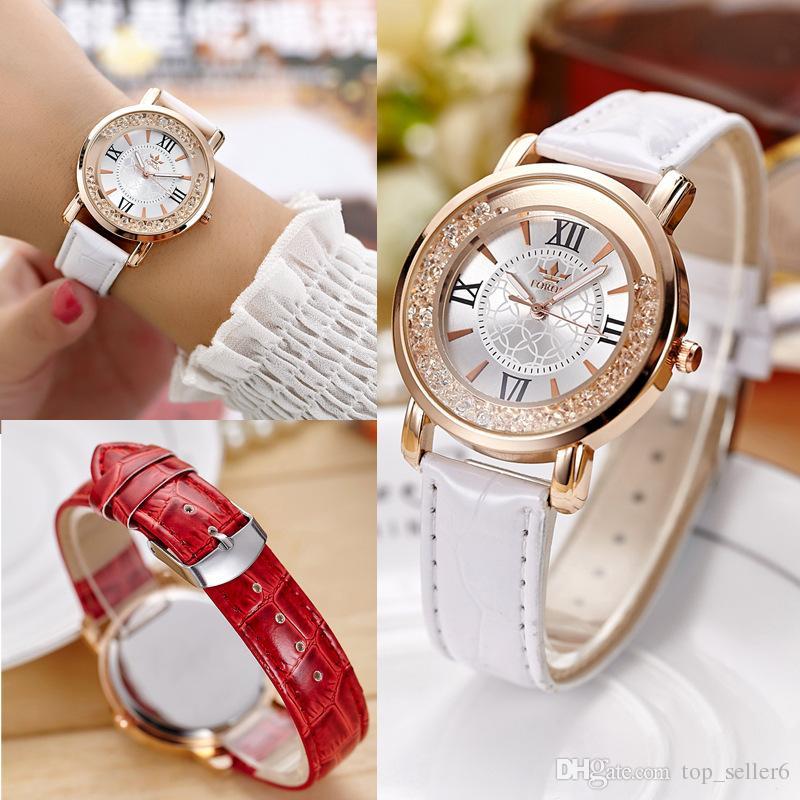 Relógios de luxo De Couro Das Mulheres Relógios Luminosa Marca de Diamante De Cristal Das Senhoras Relógio Pulseira de Relógios de Pulso Do Vintage Relógios De Quartzo 508