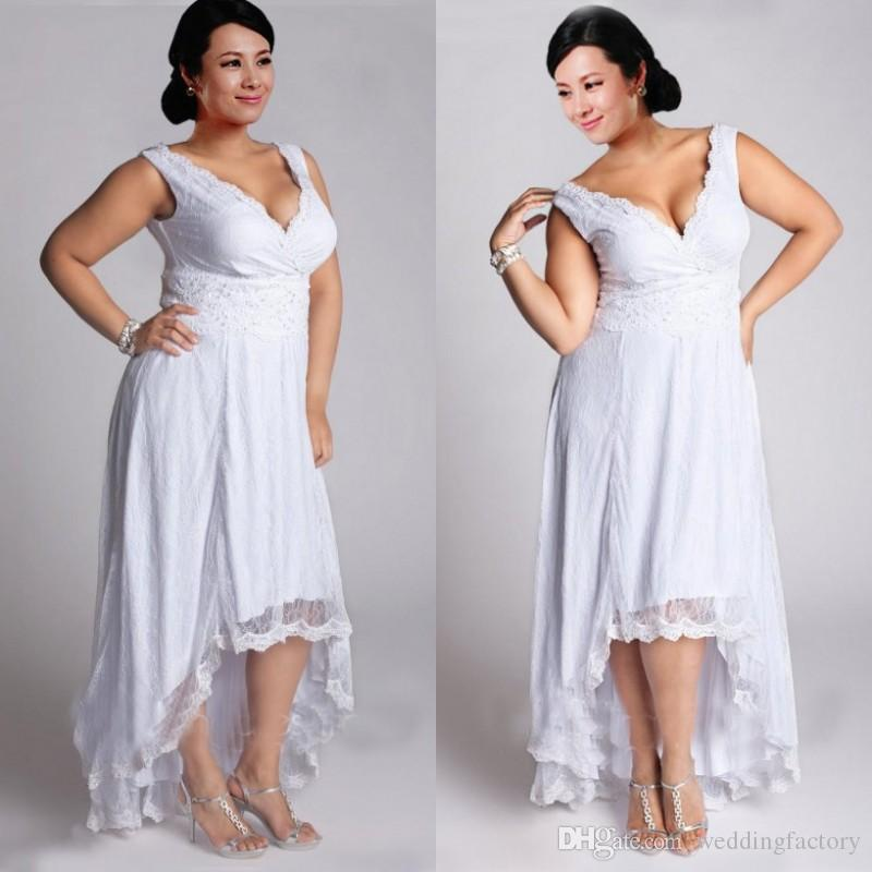 Discount Stunning Plus Size High Low Wedding Dresses Summer Beach Bridal  Gowns With Surplice V Neck Lace Appliques Beads Custom Made Country Wedding  ...