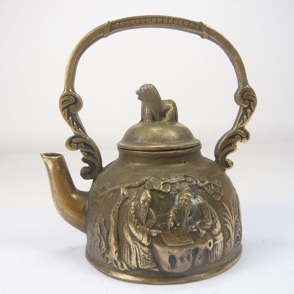 Китайский коллекционный превосходный медный резной старший чайник