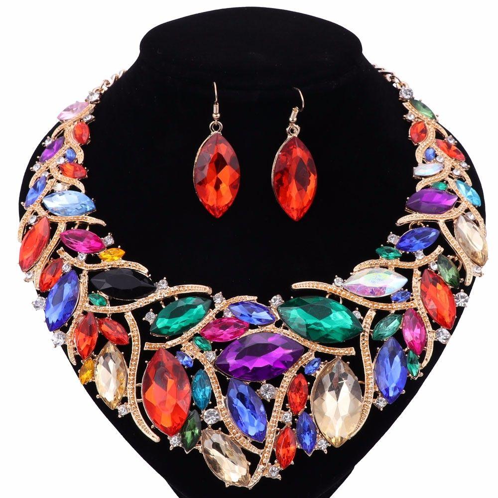 Ensembles de bijoux africains fantaisie plaqué or Mode mariage nuptiaux Accessoires strass cristal boucles d'oreilles Collier