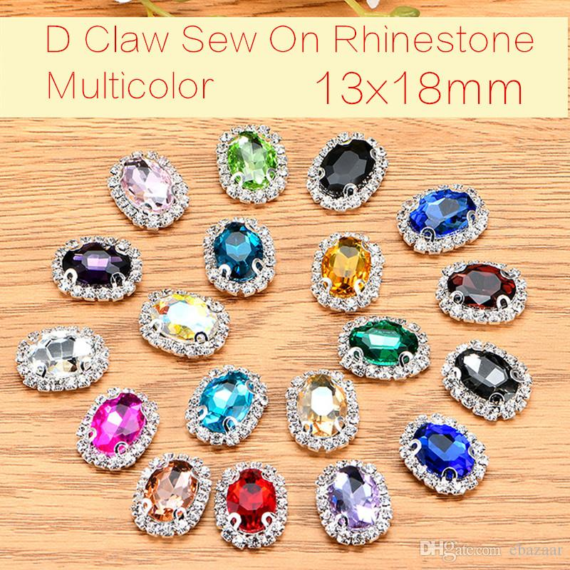 50pcs/lot Oval Glass Crystal Sew On Rhinestones With Claw DIY Crystal Buttons Jewelry Accessories 13x18mm