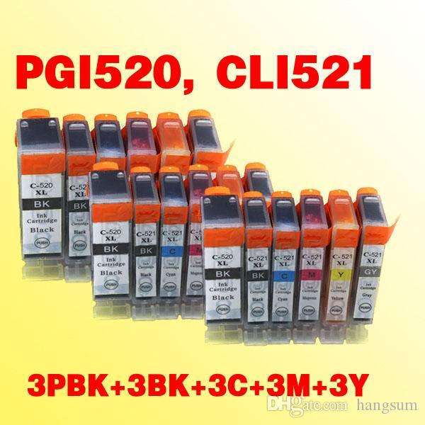 15x PGI520 CLI521PGI-520PGBK CLI-521BK 521C 521M Cartucho de TINTA 521Y compatible para Canon Pixma IP3600 / IP4600 / MP540 / MP550 / MP560 / MP640