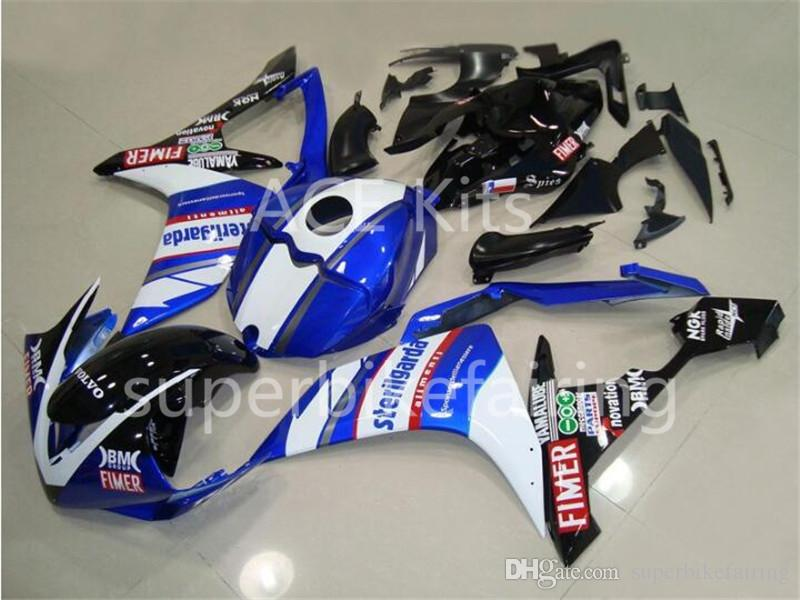 3 free gifts Complete Fairings For Yamaha YZF 1000 YZF R1 2007 2008 Injection Plastic Motorcycle Full Fairing Kit Blue White A18