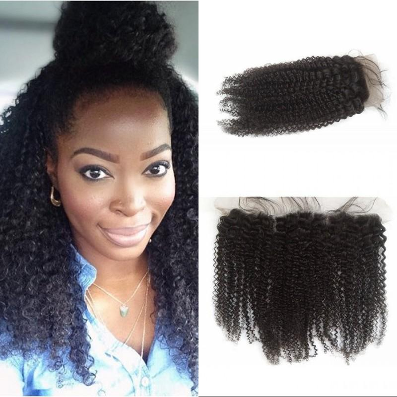Brazilian Afro Kinky Curly Lace Frontal Closure 13x4 Ear to Ear Human Hair Frontal Lace Closure Free Shipping G-EASY