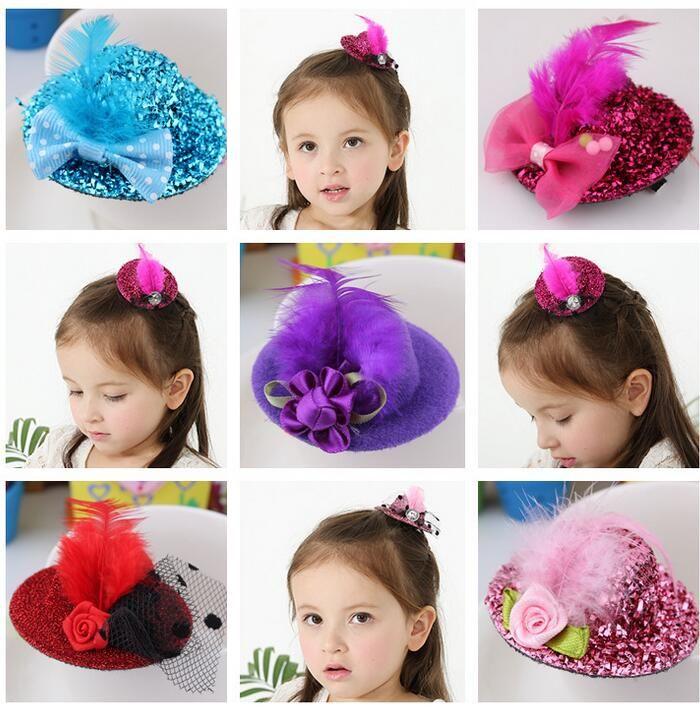Free Ship 24pcs 5.5CM Felt Mini Top Hat Feather Hat Cap Hair Clip Hen Party Lady Veil Popular Wedding homburg millinery Bridal Accessories