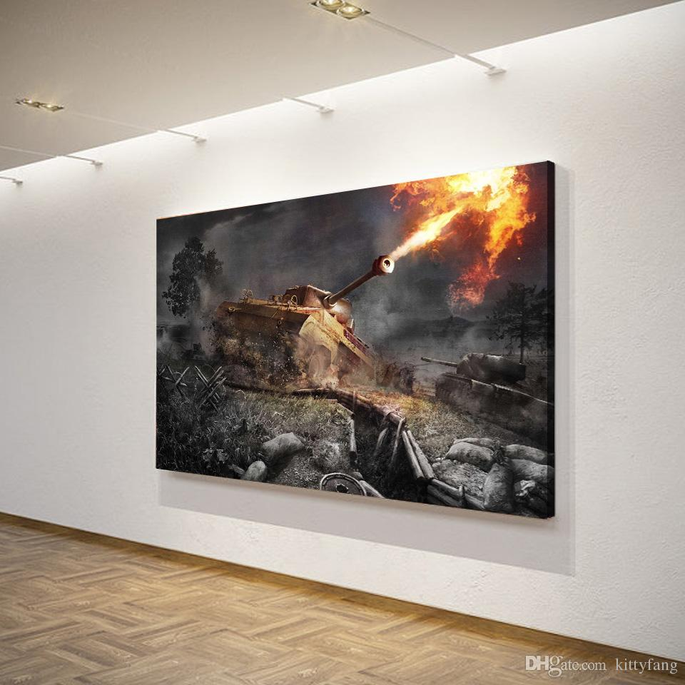 1 Piece Canvas Art Canvas Painting World of Tanks Game HD Printed Wall Art Home Decor Poster Pictures for Living Room XA1517C