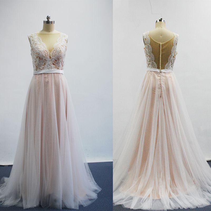 2017 Sexy A linha de vestidos De casamento New Arrival Sheer Lace apliques frisados mangas tribunal Train vestidos de noiva Real Images