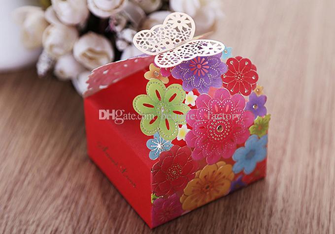 100pcs découpé au laser Candy Box Colorful fleur cadeau boîtes nouvelle décoration de mariage mariage Faovrs livraison gratuite nouveau