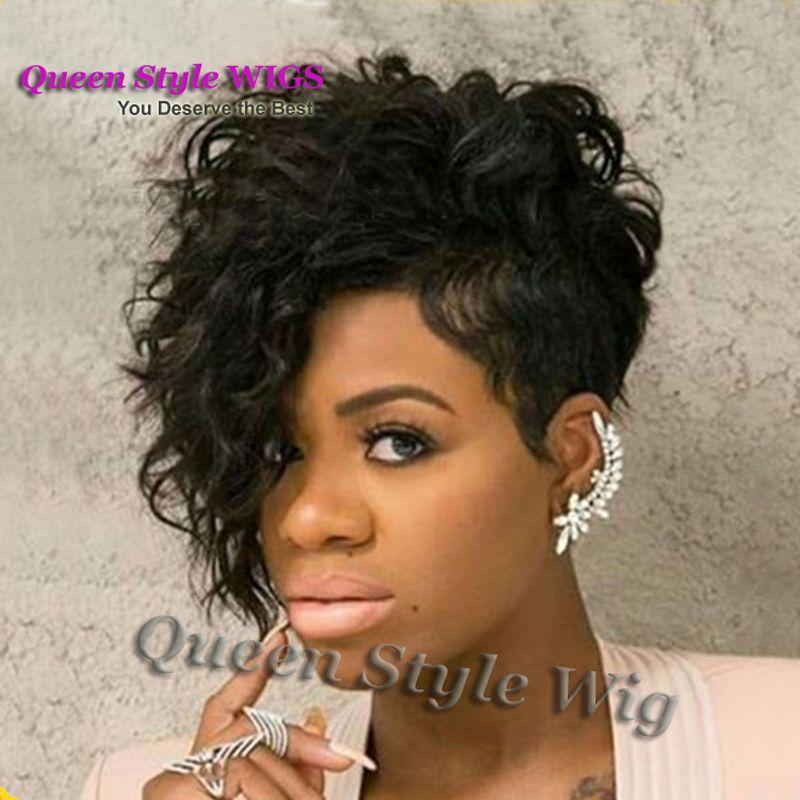New Celebrity Black Flapper Jazmine Sullivan Acconciatura parrucca Fringe lungo riccio corto Pixie Cut Unica parrucche complete per le donne nere