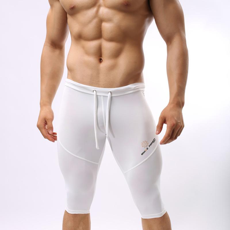Atacado- B2221 Sportswear Fitness para homens correndo calças justas troncos musculação curta pessoa corajosa