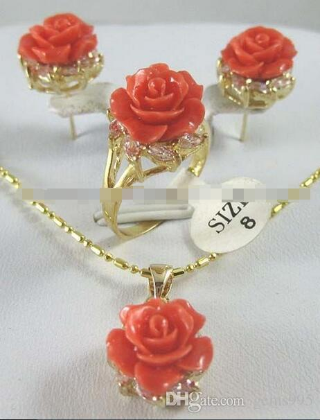 12MM الوردي المرجان منحوت زهرة أقراط الطوق قلادة قلادة مجموعة