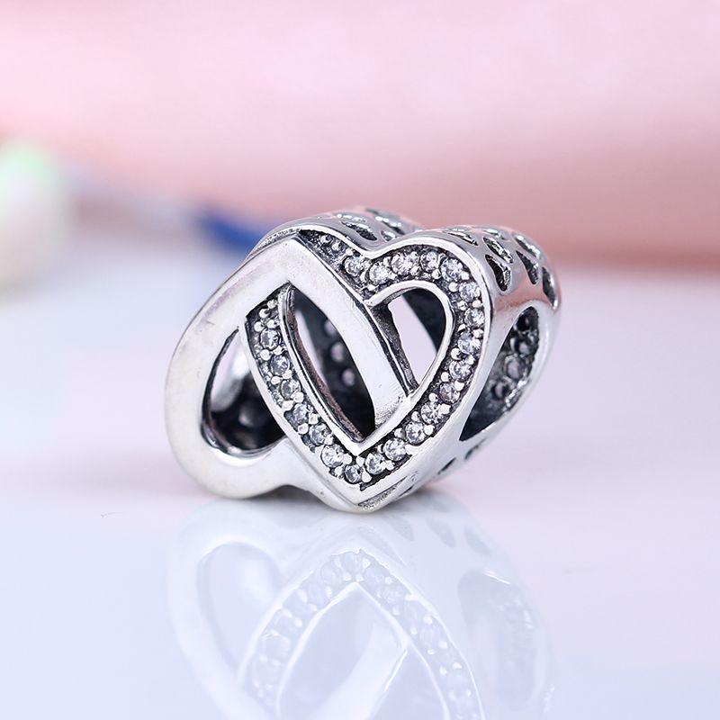 100% Réel Argent 925 Sterling Non Plaqué Double Charms Charmes Européens Charmes Perles Fit Pandora Bracelet Bijoux DIY
