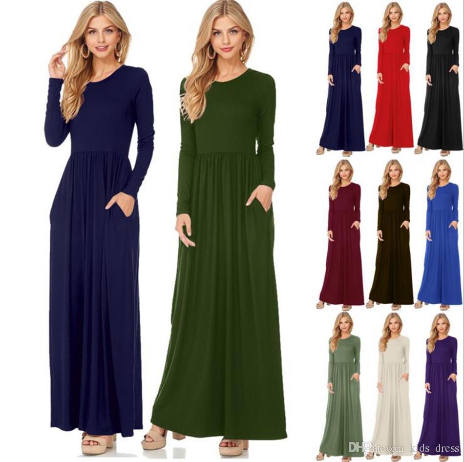 النساء اللباس ماكسي عارضة الصلبة اللون طويل الأكمام فساتين جولة الياقة طويل مثير أنيقة اللباس 10 الألوان OOA3823