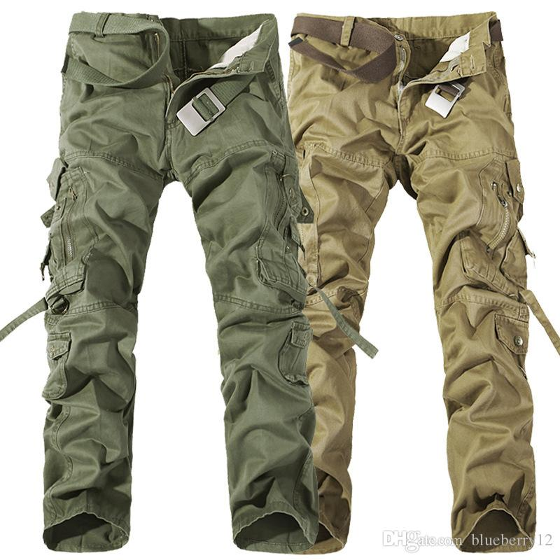 Mens Work Trousers Regular Fit 6 Pockets Cotton Combat Cargo All Waist Sizes
