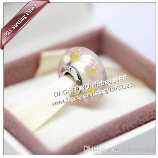 S925 gioielli in argento sterling radice di loto rosa fiori in vetro di murano charms perline adatto europeo pandora bracciali fai da te collana