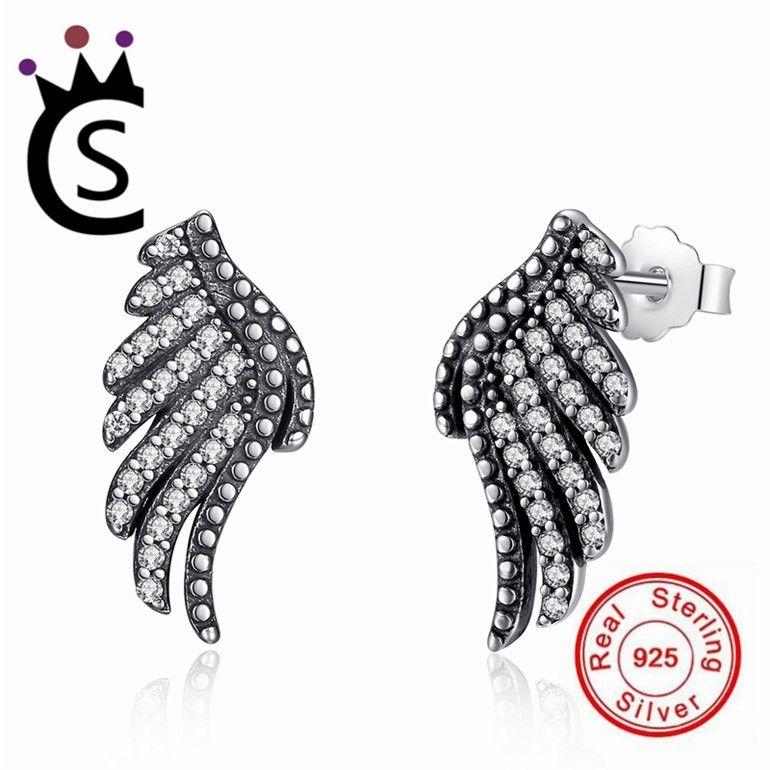 GDDX argent Sterling ailes dange boucles doreilles mignon zircon cubique boucles doreilles bijoux pour femmes filles