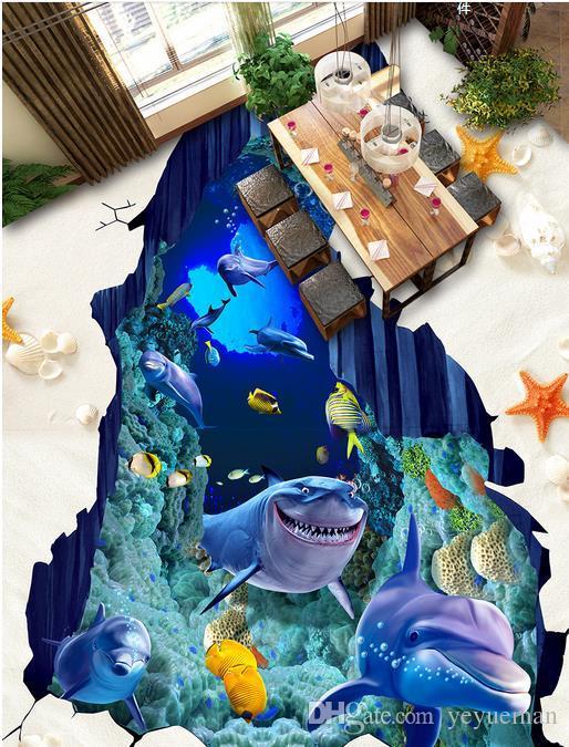 3D напольные обои фрески на заказ 3d фото Морской мир Дельфин самоклеющиеся обои 3D напольная живопись водонепроницаемый