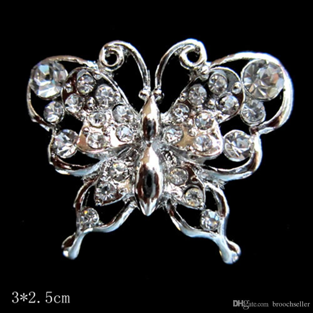 Belle broche papillon de demoiselle d'honneur en cristal strass couleur argent
