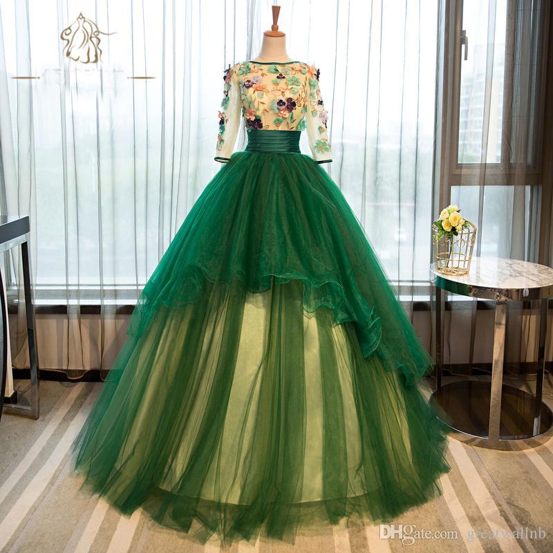 bordado de flores verdes ver a través de la princesa fiesta temática vestido de gala vestido medieval Renacimiento vestido vestido de reina victoriana bola Belle