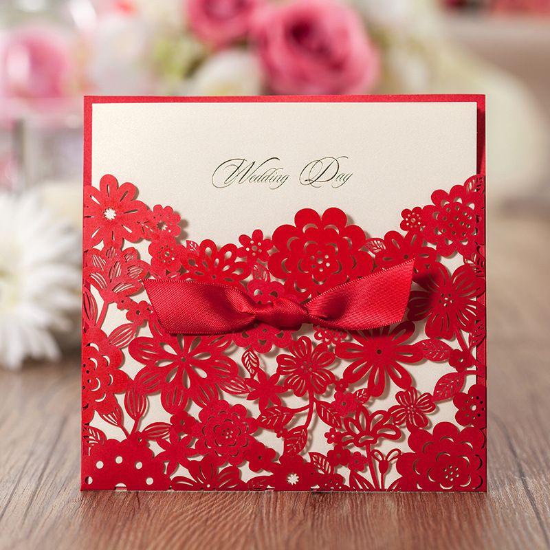 wedding celebration invitation%0A   pcs Laser Cut Wedding Invitations Cards with Envelopes Red Pattern  Bowknot Wedding Party Invitation Unique Design B