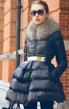 Nouveau manteau d'hiver col de fourrure de luxe pour femmes Down Jacket filles longue veste Parka