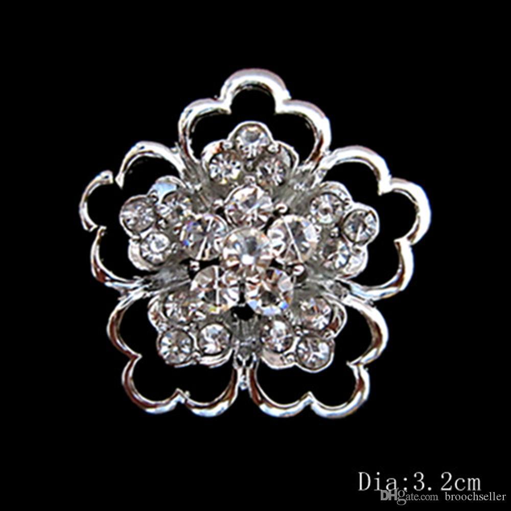 Блестящий серебряный Кристалл цветок маленькие булавки броши
