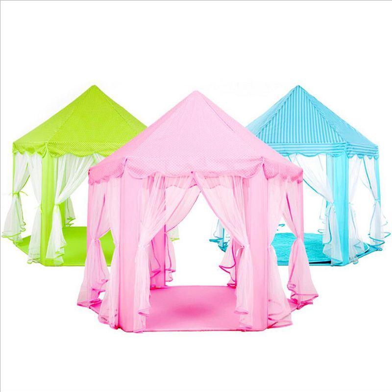 2017 new Children chiffon hexagonal tent decoration game house princess game castle tents custom free shipping