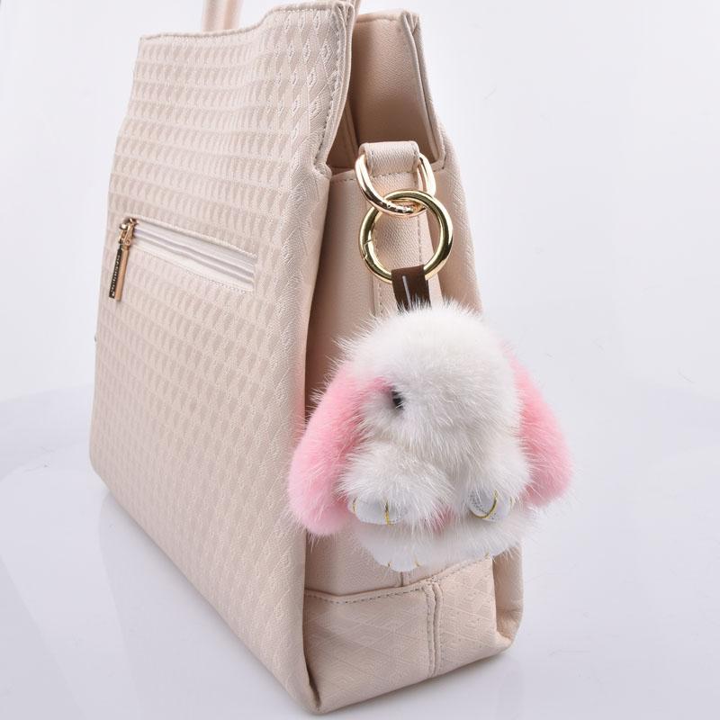 8 cm coelhos menina chaveiros verdadeiro coelho pele keychain chaveiro sacos sacos de coelhos Trinket pompon lebre de pele telefone pingente