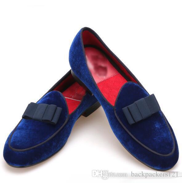 Королевский синий бархат ручной работы мужская обувь с темно-синий Боути мода выпускного вечера и свадьбы мужчины платье мокасины плюс размер мужской плоский